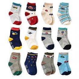 12 Paar Kleinkind Jungen Rutschfeste Socken Nette Baumwolle mit Griffen, Baby Jungen Anti-Rutsch-Socken (12 Paar, 3-5 Jahre) - 1