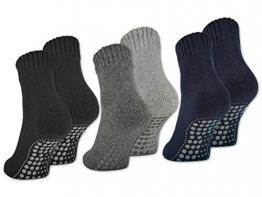 2 | 4 | 6 Paar Herren ABS Socken Herrensocken Anti Rutsch Socken mit Wolle - 21463 - sockenkauf24 (43-46, 4 Paar | Schwarz) - 1