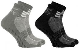 2 Paar bunte Anti-Rutsch-Socken mit ABS-System,ideal für solche Sportarten,wie Joga,Fitness Pilates Kampfkunst Tanz Gymnastik Trampolinspringen.Größen von 44 bis 46, atmende Baumwolle - 1