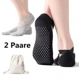 AmazeFan rutschfeste Yoga Socken für Damen, Ideal für Pilates, Outdoor Sport Workout Strümpfe mit rutschfesten Noppen Schwarz und Grau 2 Stück - 1
