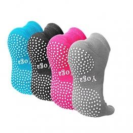 CaiDieNu Pilates Socken mit Zehen rutschfeste Yoga Socken mit Gummisohlen,Noppen Socken Ideal für Tanz Fitness,Damen Baunmwolle Zehensocken,4 Paare - 1