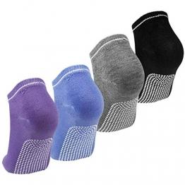 Dokpav Yoga Socken Damen Anti Rutsch Pilates Socken mit ABS-System Set von 4 rutschfeste für Yoga Pilates Tanz Fitness Kampfsport Gym Stange 36-39 (Violett/Blau/Grau/Schwarz) - 1