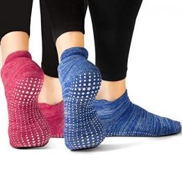 LA Active Grip Socken - 2 Paar - Yoga Pilates Barre Ballet Abs Noppen Rutschfeste (Blau und Rot, 37-40 EU) - 1