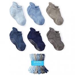 LA Active Socken - 6 Paar – Baby Kleinkind Säugling Neugeborenes - Anti Rutsch/Rutschfest Grip Knöchelsocken (Jungen, 12-36 Monate) - 1