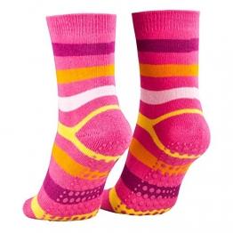 Piarini 2 Paar Kinder Stoppersocken ABS Socken Anti Rutschsocken Noppen Baumwolle Jungen Mädchen Pink Gr. 27 28 29 30 - 1