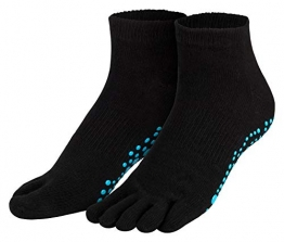 Piarini schwarz 1 Paar Zehensocken kurz ABS Socken aus Baumwolle Socken Yoga Tanzen Pilates Fitness 35 36 37 38 - 1