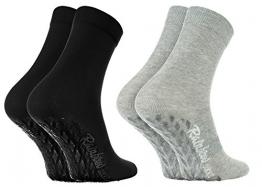 Rainbow Socks - Damen Herren Bunte Baumwolle Antirutsch Socken ABS - 2 Paar - Grau Schwarz - Größen EU 44-46 - 1