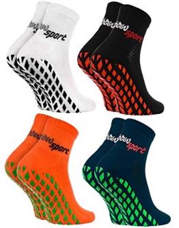 Rainbow Socks - Damen Herren Neon Sneaker Sport Stoppersocken - 4 Paar - Weiß Schwarz Orange Blau - Größen: EU 44-46 - 1