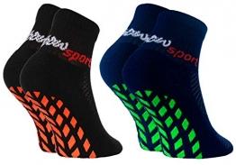 Rainbow Socks - Jungen Mädchen Neon Sneaker Sport Stoppersocken - 2 Paar - Schwarz Blau - Größen: EU 30-35 - 1