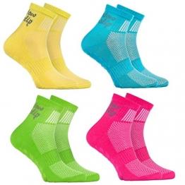 Rainbow Socks - Jungen Mädchen Sneaker Baumwolle Antirutsch Sport Stoppersocken - 4 Paar - Gelb Türkis Grün Rosa - Größen EU 24-29 - 1