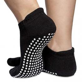 Skyba Antirutsch Socken Stoppersocken Noppensocken - Grips für Barre, Pilates, Yoga, Schwangerschaft- (Multi Pack) (Medium (EU 39-41), 2-Paar Schwartz) - 1