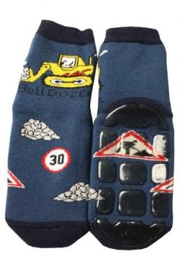 Weri Spezials Baby Voll-ABS Socke Bulldozer Motiv in Jeans Gr.19-22 (12-24 Monate) - 1
