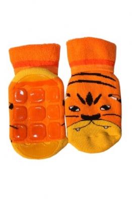 Weri Spezials Kinder Voll-ABS Socke Tiger Motiv in Orange Gr.23-26 (3-4 Jahre) - 1