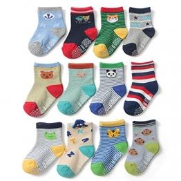 Yafane 12 Paar Baby ABS Antirutsch Socken Anti-Rutsch Rutschfest Kleinkinder Babysocken für Baby Jungen 3-5 Jahre - 1
