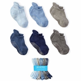 LA Active Socken - 6 Paar – Baby Kleinkind Säugling Neugeborenes - Anti Rutsch/Rutschfest Grip Knöchelsocken (Jungen, 6-12 Monate) - 1