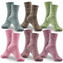 Damen Socken Wintersocken, Winter Wollesocken 6 Pack Dicke Baumwolle Stricksocke Bunte Farben Baumwollsocken Einheitsgröße Atmungsaktiv Weich Warm Socken - 1