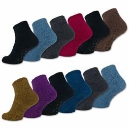 sockenkauf24 6 oder 12 Paar ABS Kuschelsocken mit Anti Rutsch Sohle Damen Kuschel Socken - 37423 (35-42, 6 Paar | Farbmix) - 1