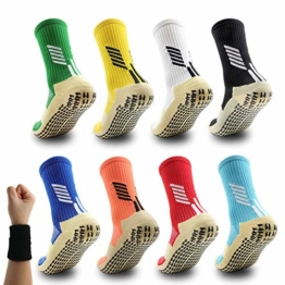 Dee Plus Rutschfeste Fußball Socken Basketballsocken/Yoga Socken Noppen Sohle Damen & Herren Socken Anti Rutsch Sportsocken Grip Fußballsocken (Weiß Orange Schwarz Rot Gelb Blau Grün) - 1