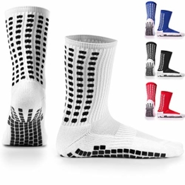 LUX Rutschfeste Fußball Socken, rutschfeste Sport Socken, Gummi-Pads, trusox/tocksox Style, Top Qualität, Basketball, Fußball, Wandern, Laufen, hier in weiß, schwarz, rot, blau Blau blau UK 5.5 - 11 (Weiß - weiß) - 1