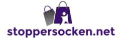Logo mit zwei Einkaufstaschen und Figur davor darunter Schriftzug stoppersocken.net