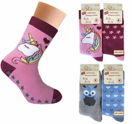 4 Paar Mädchen Thermo Socken mit ABS | Kinder Vollfrottee Strümpfe 27-30 / meh - 1