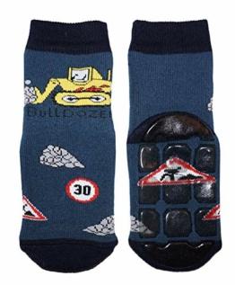 Weri Spezials Baby und Kinder Stoppersocken Bulldozer für Jungen in 3 tollen Farben, Voll-ABS Antirutschsohle Anti-Rutsch (27-30, Jeans) - 1