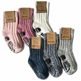 your+ ABS Kinder Norwegersocken - 3er Pack warme Wintersocken Haussocken 40% Wolle naturwarm und flauschig (die Socken fallen groß aus) - (27-30, Weiß-Blau) - 1